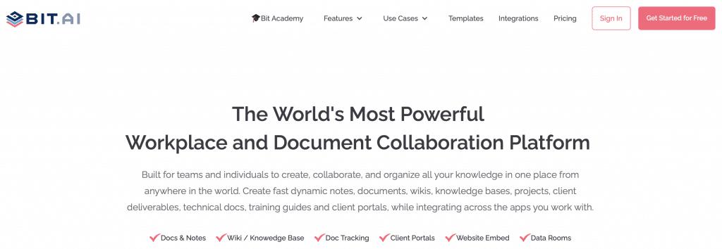 bit ai team software and document collaboration platform