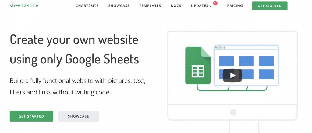 sheet2site google sheets tool