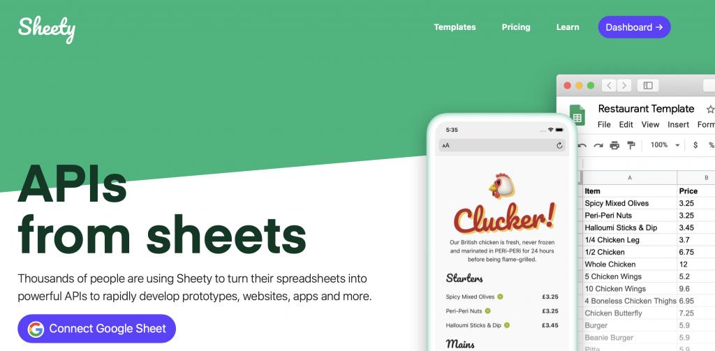 sheety google sheets tool