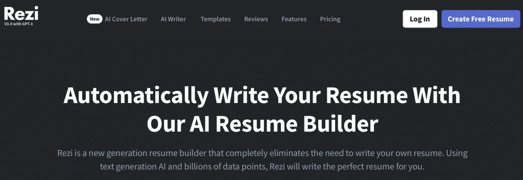 rezi gpt-3 resume builder