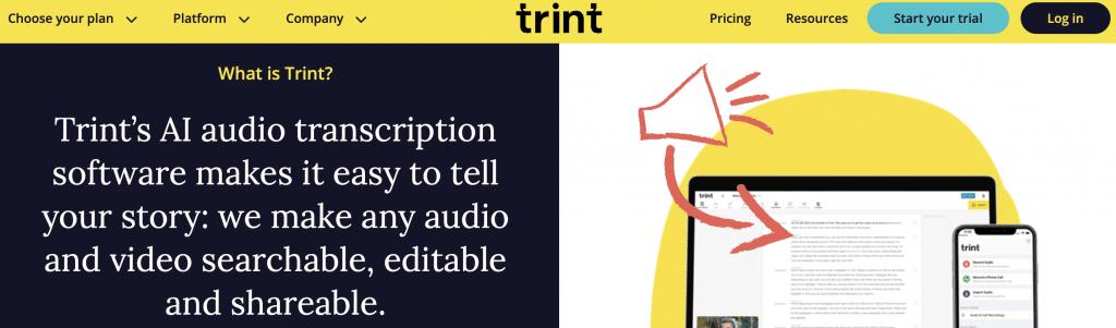 trint ai transcription software