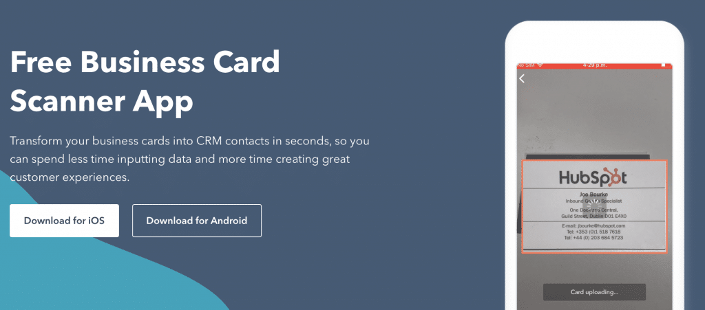 HubSpot Business Card Scanner