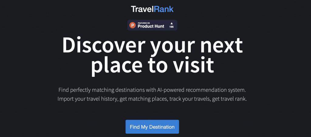 travelrank ai travel tool