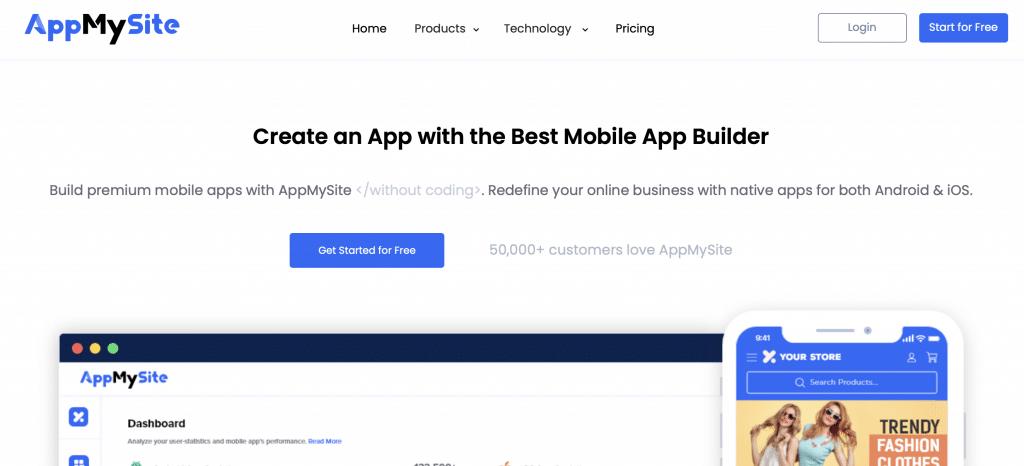 appmysite best website into an app tool