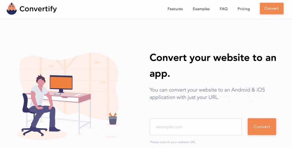 convertify best website into an app tool