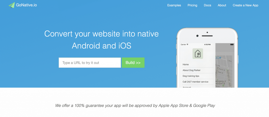 gonative turn website into an app