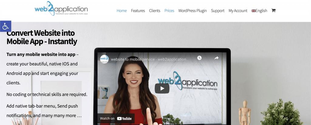 web2application website into an app tool