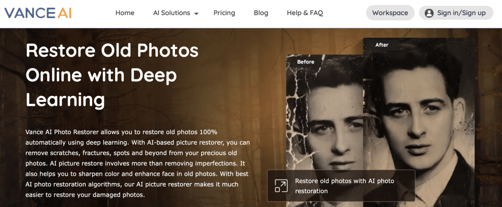 vance ai photo restoration software