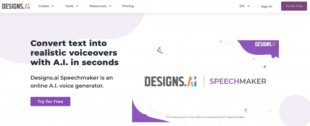 speechmaker by designs.ai voice generator